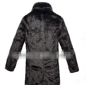 Elegant Casual Business Solid Vetement Men's Winter Faux Fur Overcoat Office Long Plus Size Big Fur Collar Rabbit Fur Coat V542