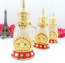 15ml India Style lotus decoration Arabic eliquid essential oil glass dropper bottle Unique style Empty crystal perfume bottles