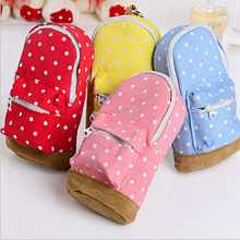 cute Korean Big Capacity Canvas Backpack Polka Dot Pencils Bag Pencil Cases Pen Storage Cosmetic Bags for Women School Office(China)