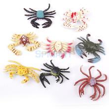 New Arrivals 2015 Plastic PVC Crab Model Kids Toy 8pcs Multi-color Free Shipping