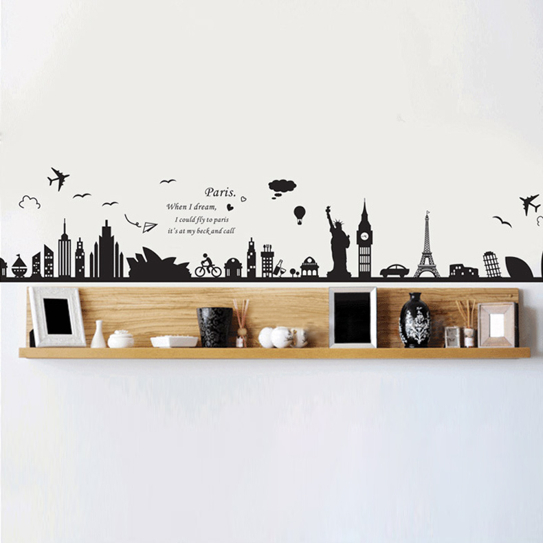 European Building Removable Wall Sticker Bedroom Sofa Backgound Decoration Wall Poster Wallpaper  TB Sale<br><br>Aliexpress