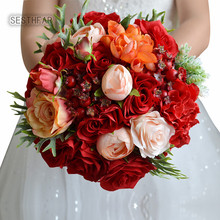 Romantic Artificial Wedding Flowers Bouquets 2018 for Outerside Garden Wedding Bridal Bridesmaid Holding Bouquets(China)