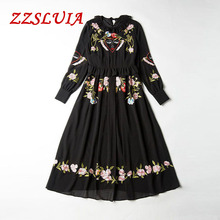 Heavy embroidery flower face patchwork designer ruffled collar long sleeve slim pleated dresses 2017 new nice women dress 1191