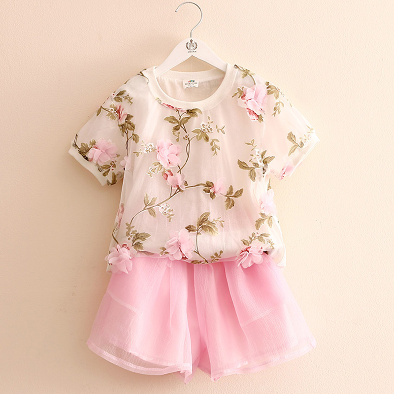 T Shirt Kids Flower T-shirt Kids Short Sleeve +Kids Shorts Solid Elastic Waist 2 Pieces Fashion Kids Clothes Girls 2521W<br><br>Aliexpress