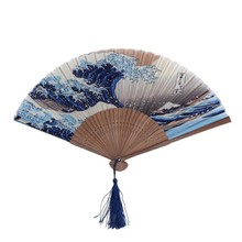 Japanese Ukiyo-e Art Prints Silk Hand Fan Wave Blue Tsunami Folding Fan with Tassle and Case