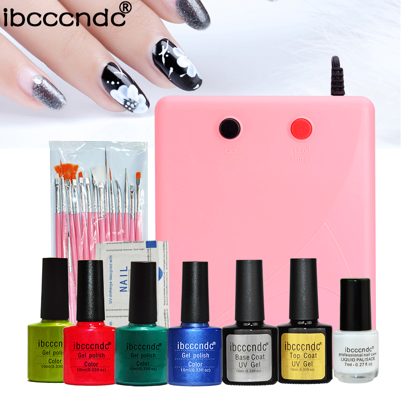 4 Pcs 10ml Gel Polish with 15 pcs Nail Art Brushes Set 36W UV Lamp Base Top Coat Varnish Remover Liquid Palisade Marnicure Kit<br>