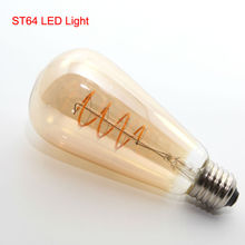 Edison Amber Vintage Lamp Bulb New Design Soft LED Filament 4W E27 Commercial Light Bulb Night Lamp T45 A19 G80 G95 G125 ST64(China)