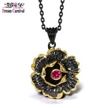 DreamCarnival 1989 Gothic Black Gold Color Flower Pendant Necklace for Ladies Fuchsia CZ Costumes Jewelry Collier Bijoux Collana(China)