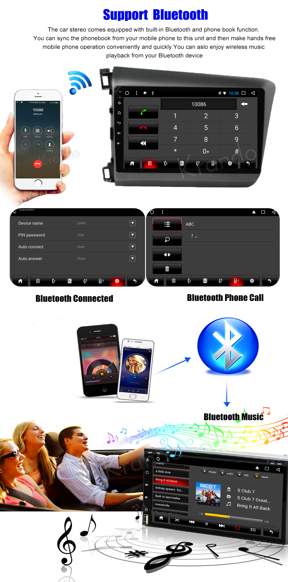 Krando Android car radio gps navigation multimedia system for Honda Civic 2012 2013