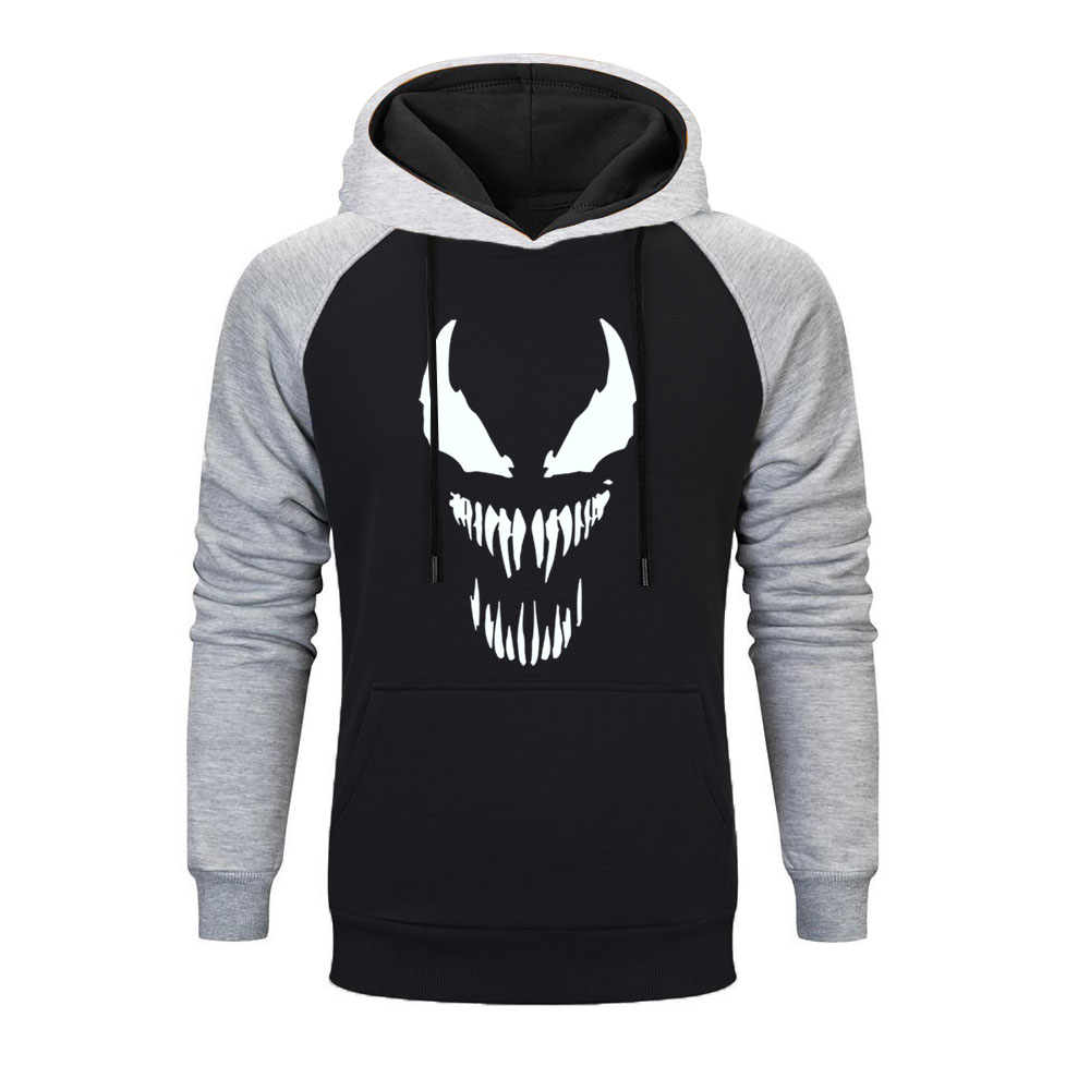 Hot Sale Newest Hoodies Men Venom Marvel Raglan Hoodie Men Superhero Anime Funny  Autumn Winter Mens Hoodies Harajuku Streetwear