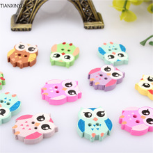 50Pcs Multicolor Wooden OWL Buttons Charms 2 Holes Sewing Craft Scrapbooking Cardmaking Hot DIY Home Decor DIY Cloth Accessories
