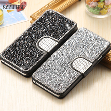 KISSCASE i5 SE 6s Coque Luxury Bling Rhinestone Flip Stand Wallet Silk Leather Case For iPhone5 5S SE 6 6S Plus Magnetic Case(China)