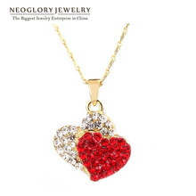 Neoglory Fashion Light Yellow Gold Color Heart Necklaces Pendant Auden Rhinstone Jewelry  for Woman Jewellery love CLE