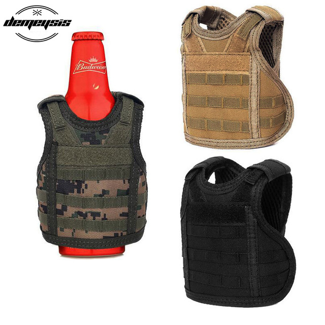 Hiking Vests Sports & Entertainment Independent Tactical Beer Military Molle Vest Mini Miniature Wine Bottle Cover Vest Beverage Cooler Adjustable Shoulder Straps