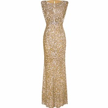 Luxury Gold Silver Long Sequin Dress Pink Double O Neck retro Evening Gowns Sleeveless Prom Party Formal Dresses