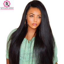 Lace Front Human Hair Wigs 250% Density Pre Plucked With Baby Hair Straight Brazilian Virgin Hair Front Lace Wig Rosa Queen(China)
