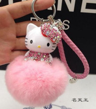 New Hello Kitty colorful Bells crystal Real Rabbit Fur Pompom Car leather metal Key chain Keychain Women bag pendant Accessories(China)