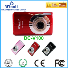 "15 Mega Pixles Compact Digital Camera DC-V100 5x Optical Zoom 2.7"" Professional Digital Camera Face&Smile Detection Freeshipping"