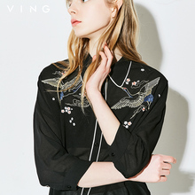 Ving Summer Women Chinese Cranes Embroidery Blouse Fashion Turn-down Collar Chiffon Loose 2017 New Three-quarter Sleeve Blouses(China)