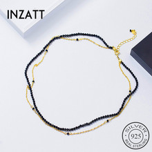 Buy INZATT Gold Chain Black Stone Round Double chain Choker Necklace Women Wedding Party Charm Silver 925 Fashion Jewelry Gift for $8.46 in AliExpress store