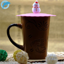 LINSBAYWU 1pcs Cute Cartoon Silicone Cup Cover Coffee Suction Seal Lid Cap Silicone Airtight Love Creative