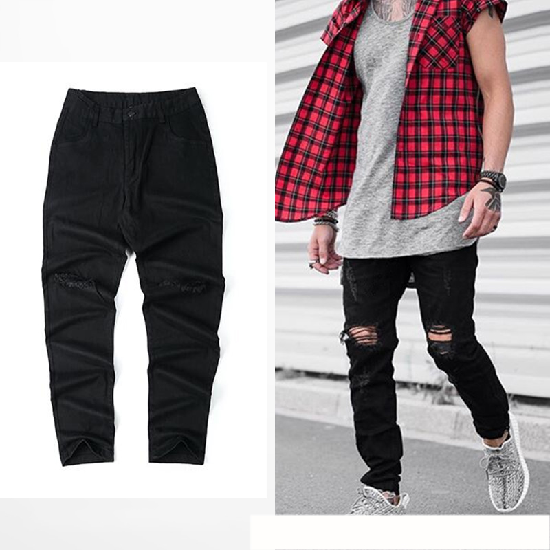 High Street Black Jeans Men Distressed Water Washed Skinny Pencil Pants Streetwear Biker Jeans 2017 New Motorcycle Pant Man 36Одежда и ак�е��уары<br><br><br>Aliexpress