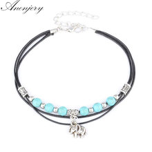 Anenjery Hot Sale Beach Jewelry Tibetan Elephant Pendant Beads Anklet Foot Leather Chain Ankle Bracelet B56