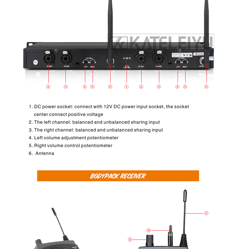 EM2050 Wireless in ear Monitor System 6 ear monitoring systems wireless stage monitor system EM2050 IEM bodypack monitor