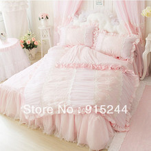 Embroidery dreaming girls luxury Bedding sets KING QUEEN Pink Organza lace princess wedding bedskirt bamboo fiber duvet cover
