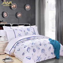 ROMORUS 5-Star Hotel Bedding Set 100% Cotton Stain 60s King Queen Size 4pcs White Blue Seashells Duvet Cover Set Hotel Bed Linen