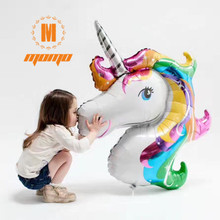 Free shipping big unicorn foil balloons america imported cartoon animals children float toy balloon helium present classic toys(China)