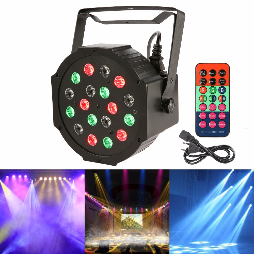 2017 New 18LED 18W Led Stage Par Light RGB Colorful 7CH DMX-512 Led Night Lighting for DJ Culb House Disco Strobe Party KTV Lamp<br><br>Aliexpress