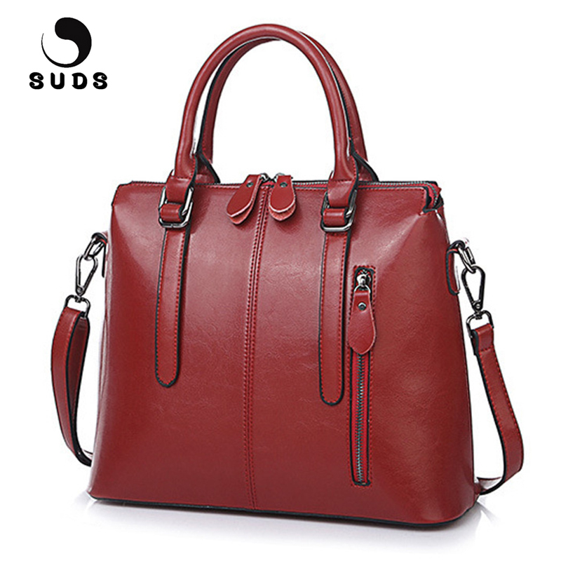 SUDS Brand Women New Genuine Leather Handbags Ladies European And American Style Cow Leather Crossbody Female Shopping Tote Bags<br>