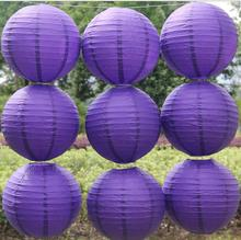 Violet Color Chinese Paper Lanterns 10-15-20-25-30-35-40cm for Wedding Event Party Decoration Holiday Supplies Paper Ball(China)