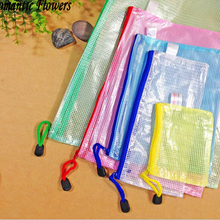 Mesh Zipper Paper Bags, Waterproof Folder, The Office Of Student Bags A4 / A5 / B4 / B5 Send Random Colors(China)