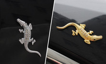 Crocodile Car Sticker 3D Emblem for Motorcycle Auto Bike Decal Silver and Gold