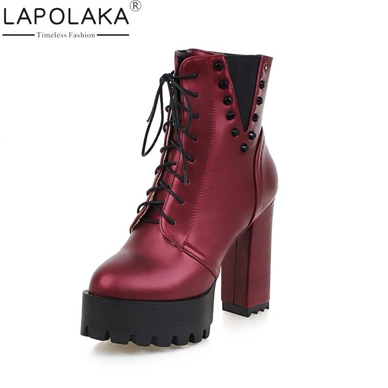 LAPOLAKA 2017 Add Plush Warm Fur Winter Shoes Women Fashion Lace Up Rivets Platform High-heeled Short Boots<br>