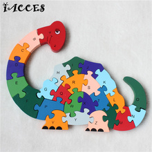 Kids Eeducational Toys Wooden Dinosaurs Giraffe Alphabet Letters 3D Wood Puzzle Baby Educative Development Jigsaw Toy gifts