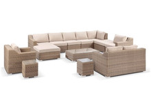 Sigma outdoor aluminum rattan furniture sectional seating set large sofa
