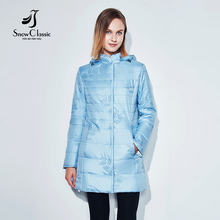 SnowClassic fashion autumn women jacket winter thin coat embroidery leaf cotton solid long women's Hooded warm jacket hot sale