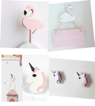 Ins Wooden Kids Room Clothes Hook Wall Decorative Sticker Flamingo/Swan Unicorn Cross Rabbit Shape Hanger Hook Home Decoration