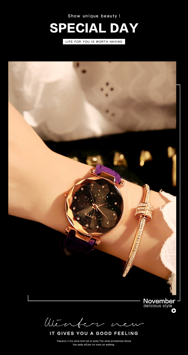 18 Luxury Brand Gogoey Women Watches Personality romantic starry sky Wrist Watch Leather Rhinestone Designer Ladies Red Clock 22