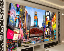 beibehang Advanced sound proof wallpaper modern street view building Times Square TV background wall papel de parede 3d tapety