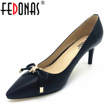 Buy FEDONAS New Sheepskin High Heels Women Genuine Nutural Leather Women Pumps Fashion Elegant Bowtie Wedding Handmade shoes Women for $38.94 in AliExpress store