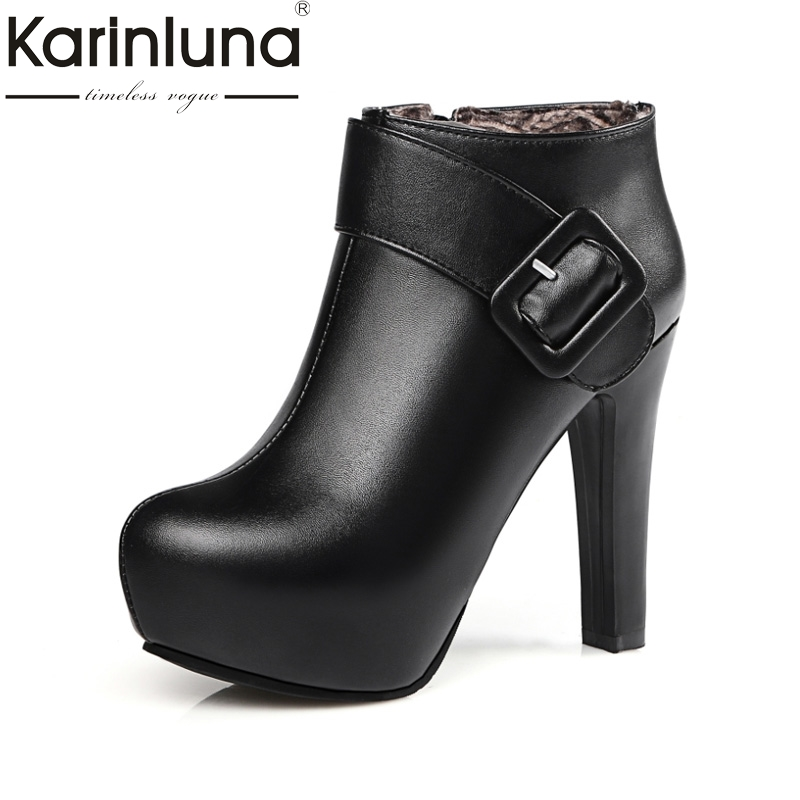 KarinLuna Newest Women Med Heel Ankle Boots 4 Colors Round Toe Platform Fashion Shoes Warm Fur Autumn Winter Rubber Sole Boots<br>