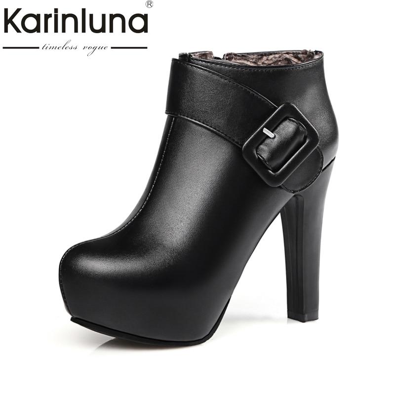 KarinLuna Newest Women Med Heel Ankle Boots 4 Colors Round Toe Platform Fashion Shoes Warm Fur Autumn Winter Rubber Sole Boots<br>