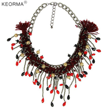 KEORMA Fashion Designer Pattern Gold Color Bubble Meteor Crystal Braided Rope Charm Pendant Statement Necklace NK721(China)
