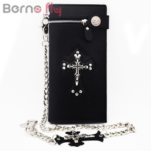 Berno Fly Brand Men Vintage Long Purse Boys Goth Skull Cross Black Leather Biker Punk Snap zipper Wallet with Long Key Chain(China)