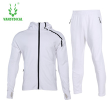 Men's Trainning Exercise Sets Jacket Hoodies and Pants Outdoor Sport Clothing Windproof Thermal Sportswear Male Size XXL