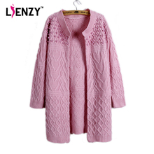 LIENZY Autumn Casual Pearl Knitted Cardigan Long Sleeve Twist Women Sweater Long Knitted Coat(China)